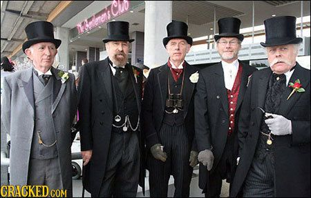 lol. Gentleman's club. Just like from the Mystery Team: Steampunk Fashion Men, Conservative Steampunk, Steampunk Gentlemen, Steampunk Attire, Gentleman S Steampunk, Dashing Gentlemen, Gentlemen1 E1297689101232 Jpg, Steampunk Mens Clothing
