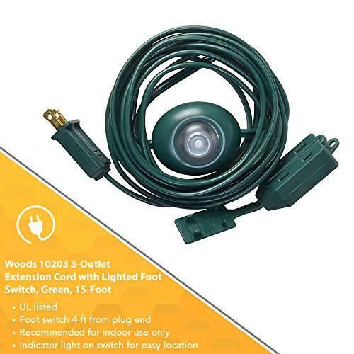 Woods 10203 Indoor Extension Cord With Lighted Foot Switch And 3 Outlets Foot Switch Features Indicator Light Protective Swivel Safety Covers Versatile Use Safety Cover Indicator Lights Extension Cord