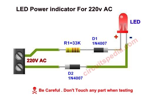 Led Power Indicator Circuit For 230v 240v Ac Mains Single Led