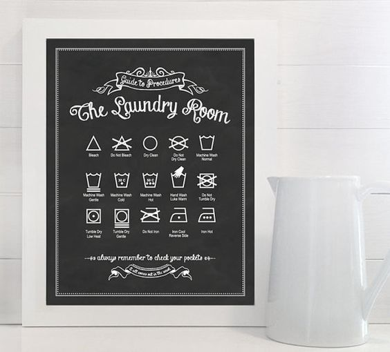 Original Guide to Procedures: The Laundry Room print - Laundry, Symbols, Rules, Sign, Vintage, Decor, Art, Wall, Chalk, Chalkboard