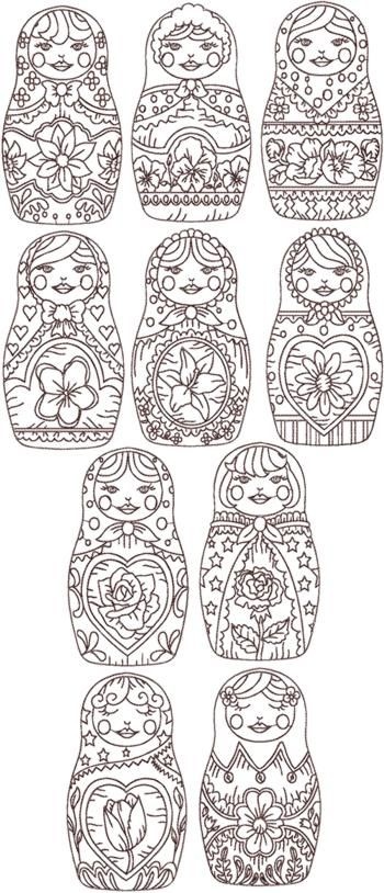 Although these are designs for redwork embroidery; I can't see why these Russian dolls couldn't be used for creating a painting (on canvas, wood or paper), of singles or multiples, in traditional colours, then frame and hang the end result!