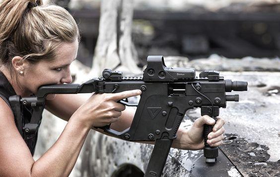 Woman shooting a Kriss Vector SBR