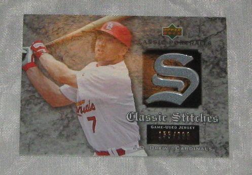 J.D. DREW 2003 Upper Deck Jersey relic card - #155/299 - Cardinals