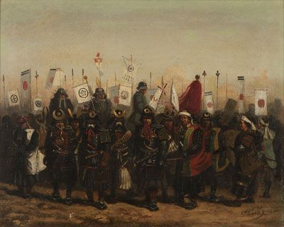 Lot# 035 Charles Wirgman Sr. (1832-1891 British) Japanese Samurai dressed for battle with military banners and Japanese flags flying, oil on canvas. 15.5'' H x 19.5'' W - est:$3000/5000