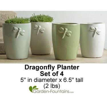 Dragonfly Planter, Set of 4. Use indoors or outdoors! http://www.garden-fountains.com/Detail.bok?no=8136