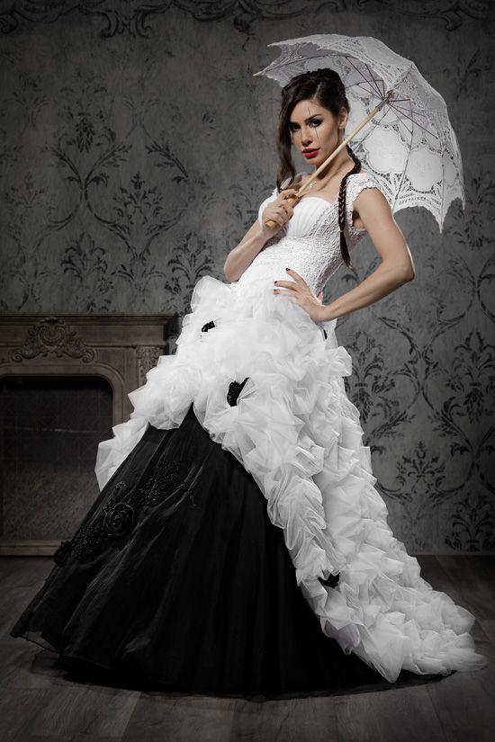 Schwarz weiße brautkleider
