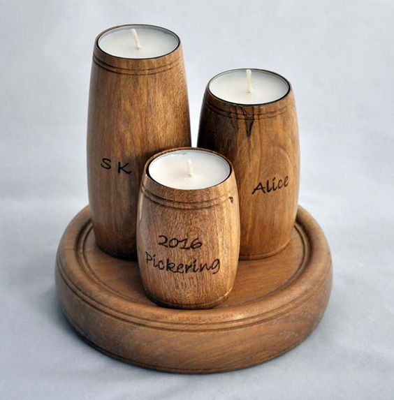 Trio of tea lights, inscribed with dedications. In holly.