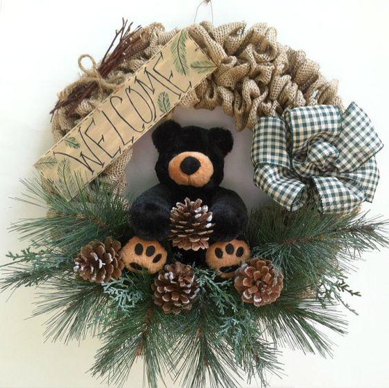 Fall Wreath, Teddy Bear, Welcome Wreath, Christmas Wreath, Black Bear, Burlap, Wreath, Pine, Pine Cone, Welcome Sign, Rustic Wreath