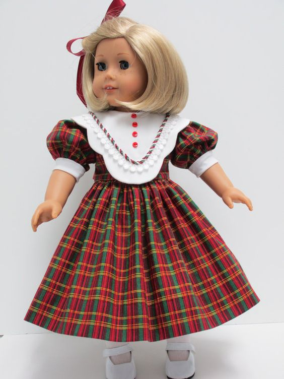 Reserved 1950's Christmas Plaid Dress with White Bib Collar for Mattel American Girl Doll