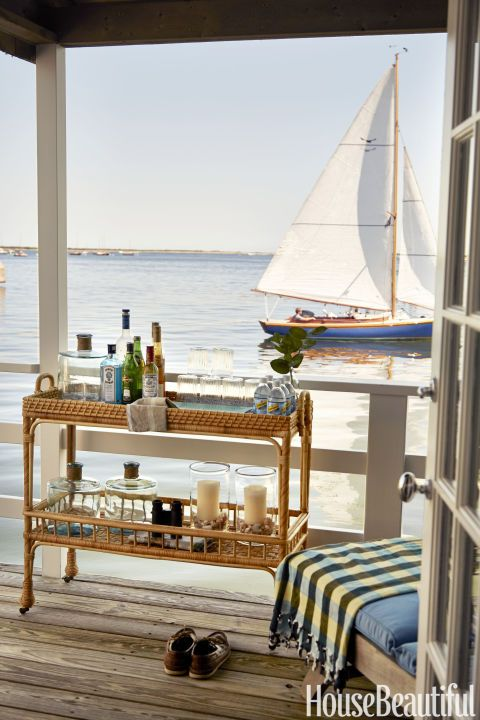 The stocked South Seas bar cart by Serena & Lily brings the party outdoors.: