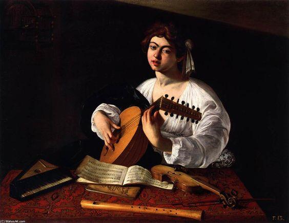 'Le joueur de luth', huile sur toile de Caravaggio (Michelangelo Merisi) (1571-1610, Italy)