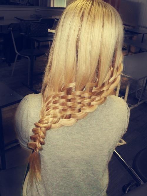 blonde hair weaved into braid
