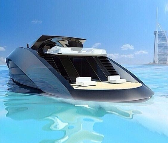 Yatch Black Luxury Modern Class Rich Famous Sea Ocean Blue Crystal Clear