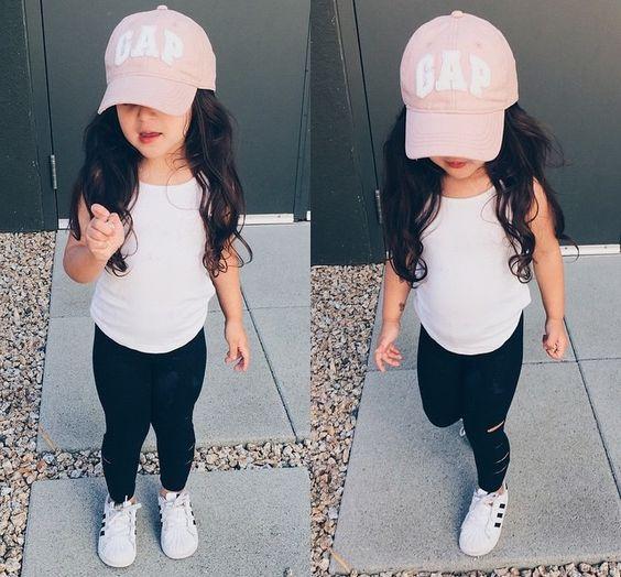 girls fashion | black leggings, white tee, white tennies, pink gap hat, toddler fashion, summer style, little, cute
