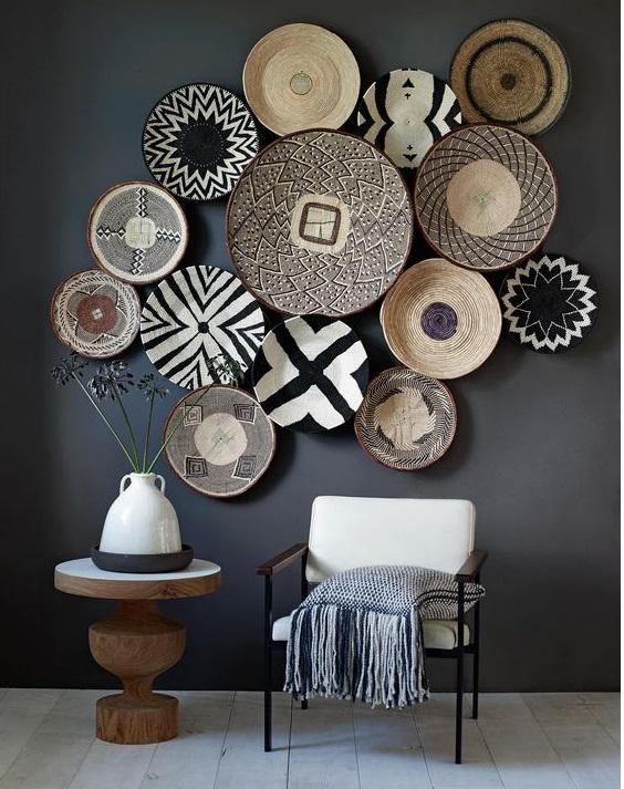 African Black & White Zig Zag Rwanda Basket  Decor, Basket wall