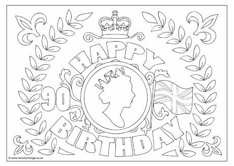 Queen's 90th birthday colouring page 2