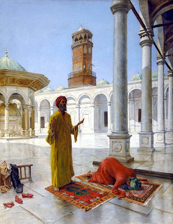 Prayer at the Muhammad Ali Mosque, Cairo - By Alphons Leopold Mielich (Austrian, 1863 - 1929) - Oil on canvas. The Muhammad Ali Mosque is built after the Blue Mosque in Istanbul and it is known as The Alabaster Mosque because of the decoration of its facade. It was built between 1830 and 1848. Initially the French architect Pascal Coste was hired but then for unknown reason, Mohamed Ali changed his mind and hired Yusuf Bushnaq as an architect of the mosque.