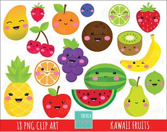 Utiliser 80 Vente Kawaii Fruits Clipart Commercial Clipart Mignon Pomme Banane Cerise Pasteque Kiwi Mangue Raisins A Kawaii Fruit Fruit Clipart Clip Art