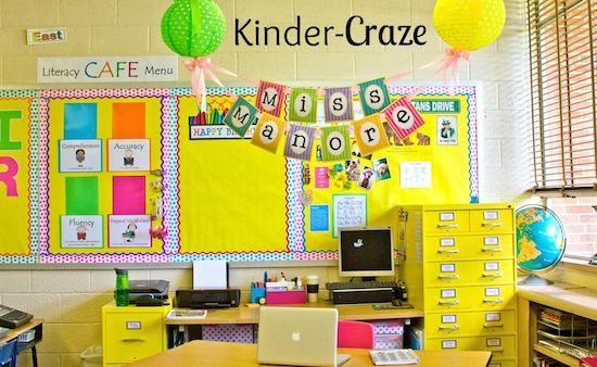 hang a banner with the teacher's name above the teacher workspace