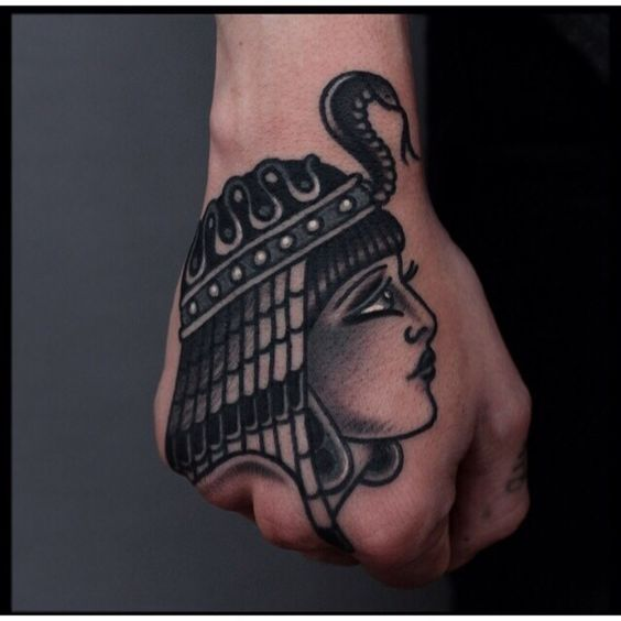 Traditional hand tattoo #Egyptian #Cleopatra #pharaoh #traditional #tattoo loveeeeeeee this