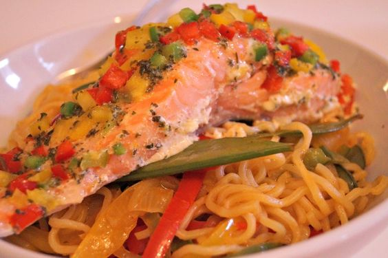 stir fry noodles and baked salmon
