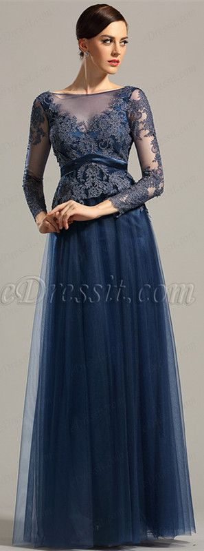 Long sleeves navy lace gown! price: $239.99 #edressit #formaldress #fashion