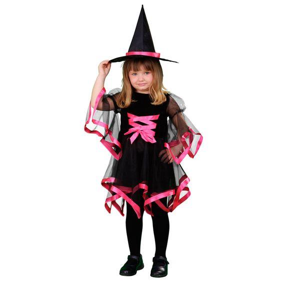 Elegante y original disfraz de Bruja. Ya que las brujas no tienen porque ser sosas y aburridas nosotros os proponemos este nuevo modelo que combina a la perfección negro y rosa el color preferido de casi todas las niñas. #disfraces #halloween