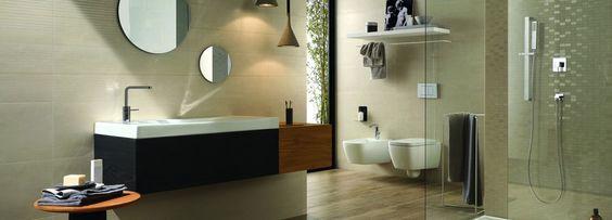 Bagno moderno giocato su tinte neutre e toni naturali a pavimento piastrelle in tutto simili - Tutto per il bagno milano ...