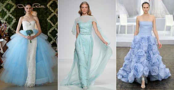 Como usar vestido de noiva azul, cor que é tendência e garante sorte no casamento