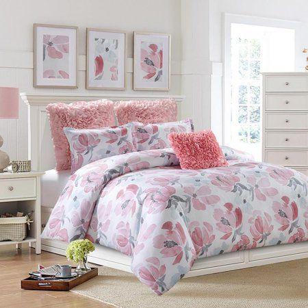 Soft Floral Watercolor Comforter Set Machine Washable Includes 1 Comforter 2 Shams 1 Pillow Full Walmart Com Comforter Sets Duvet Sets Reversible Duvet Covers