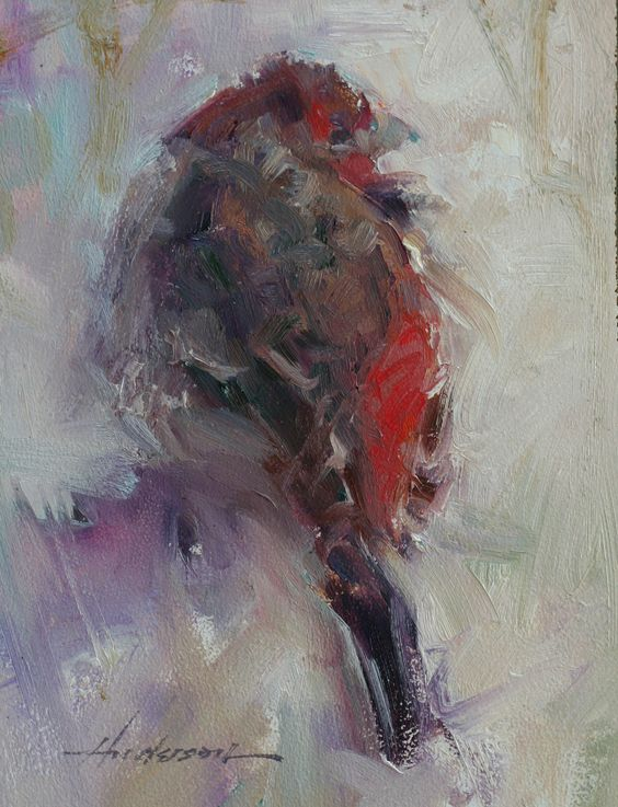 Wonderful brushwork in this beautiful little red bird oil painting by Carolyn Anderson. http://www.carolynanderson.com/images/finch%208x6o%2007.jpg