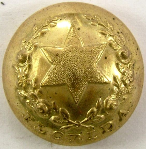 "Florida button, state seal ""Cherokee rose"", officer staff, E Halfmann, (22.3mm)"