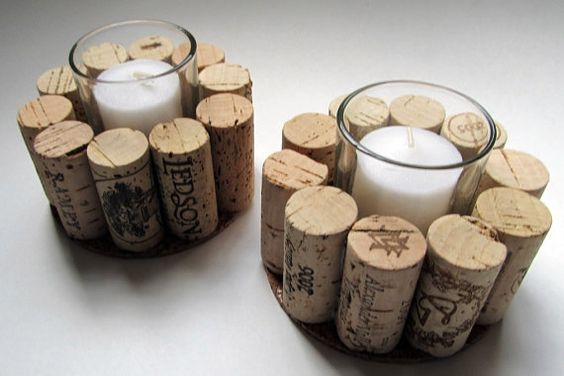 Wine Cork Votive Candle Holder - Set of Two - Rustic, Cottage Chic, Christmas Gift, Wine Lover's Home Decor on Etsy, $20.00