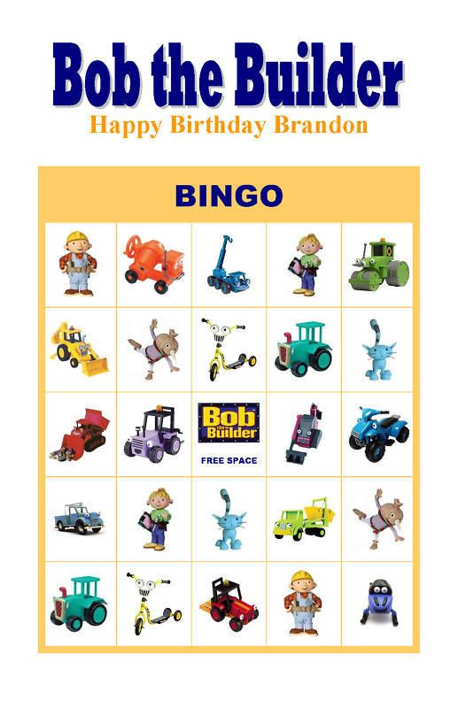 Each Bingo Card Is Ready To Print On A 8 5 X 11 Sized Paper Cards Are Only Sold In Sets Of Ten Birthday Party Games Bob The Builder Arcade Birthday Parties