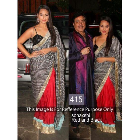 Bollywood Replica - Sonakshi Sinha Red & Black Saree - 415 (CM-Vol-13)