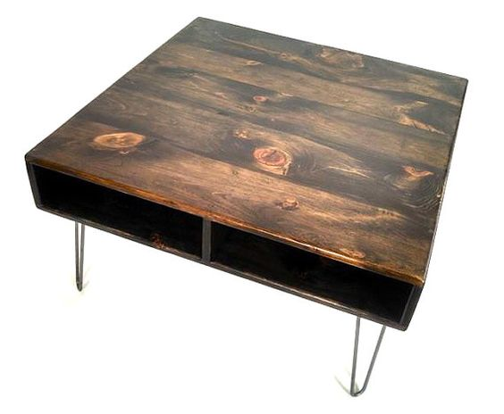 24 X 24 Square Reclaimed Wood Coffee Table Hairpin Leg Console Media