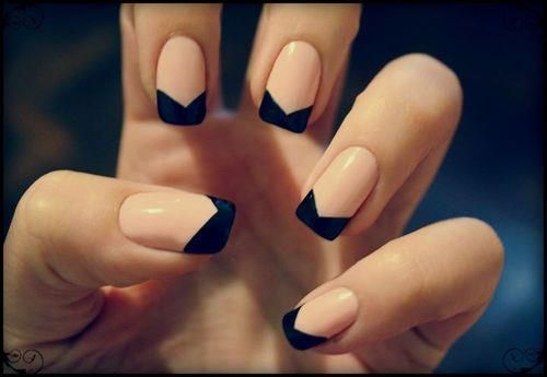 modern french nail...I am gonna do this but with lavender and black for Derek's wedding, with a little crystal on the rind fingers :)