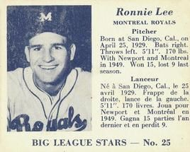 1950 Big League Stars (V362) #25 Ronnie Lee Front