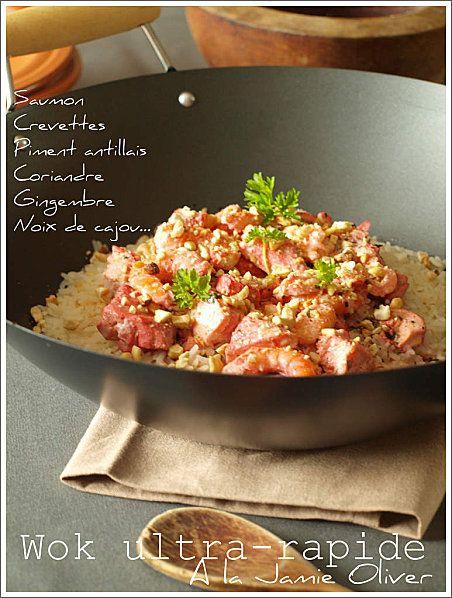 Wok ultra-rapide de curry de saumon