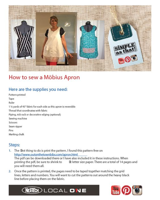 Find the möbius apron instructions and pattern at nex-tech.com/local1