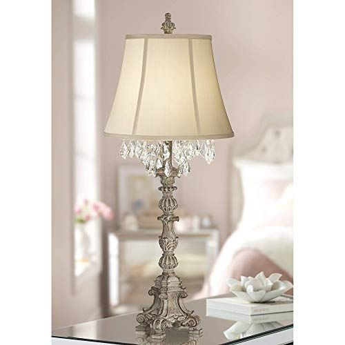 Duval Cottage Table Lamp Crystal Antique White Candlestick Beige Bell Shade For Living Room Famil Table Lamps For Bedroom Candlestick Table Crystal Table Lamps
