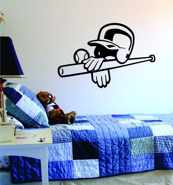 Baseball Softball Helmet Bat and Ball Design Sports Decal Sticker Wall Vinyl Decor Art