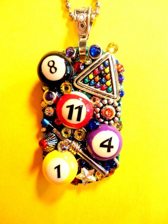 Billiards Dog Tag Pendant Number 2027 by BradosBling on Etsy www.bradosbling.com