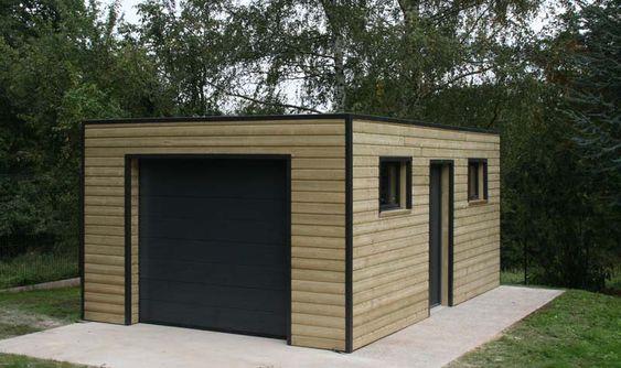 garage ossature bois toit plat epdm