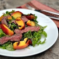Steak Salad: New York Steak with Baby Greens and Grilled Nectarines