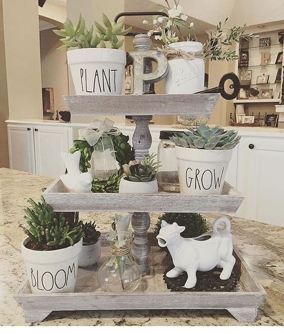 tiered wood trays
