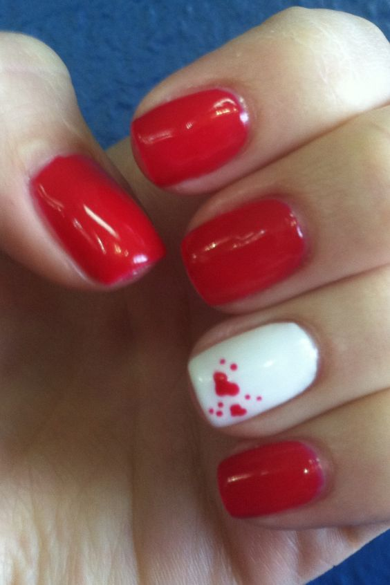 Shellac Wildfire w hearts ❤    Even though I am not a nail art girl by any means.... I love this!  So adorable!