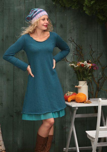 Tunika Winterkleid Lagen-Look petrol S, M, L von Basia Kollek auf DaWanda.com