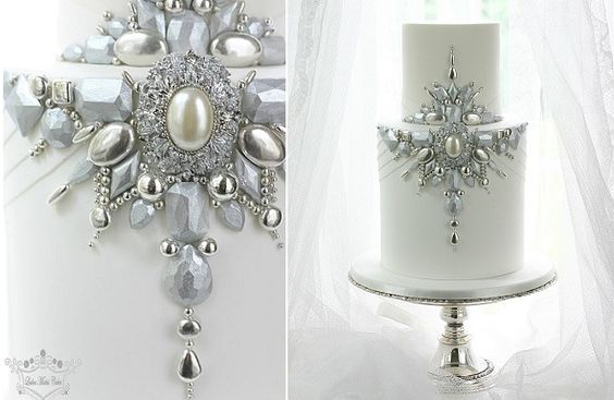 jewelled winter wedding cake by Leslea Matsis