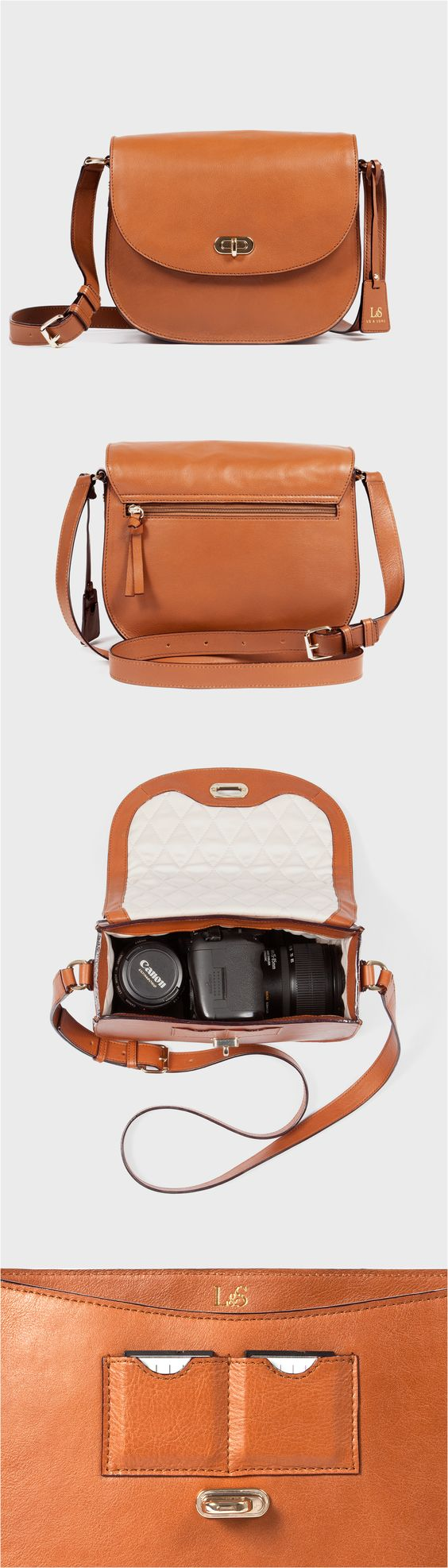 """The Claremont"" womens leather camera crossbody bag. Features a padded and quilted interior compartment for carrying DSLR cameras. Designed by Lo & Sons  #loandsons"